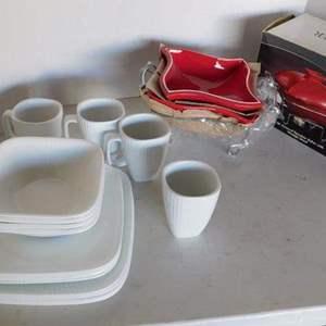 Auction Thumbnail for: Lot # 457- 4 piece corelle dish, bowl, cup set/ Porcelain baker and warmer