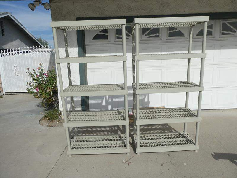 Lot # 200-Two peice Keter storage shelves. Good condition, plastic.  (main image)