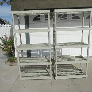 Lot # 200-Two peice Keter storage shelves. Good condition, plastic.