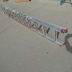 Auction Thumbnail for: Lot # 202- All American extension ladder. Great condition/ Aluminum 22ft.
