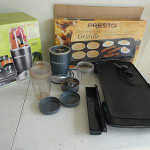 Auction Thumbnail for: Lot # 207- 600 Watt Magic bullet blender and Presto cool touch electric griddle