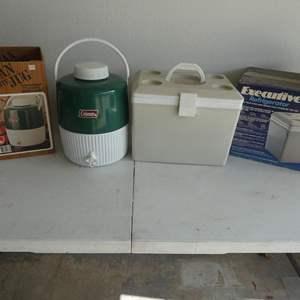 Lot # 209- Coleman Snow-lite, Jug 2 Gallon model and executive refrigerator