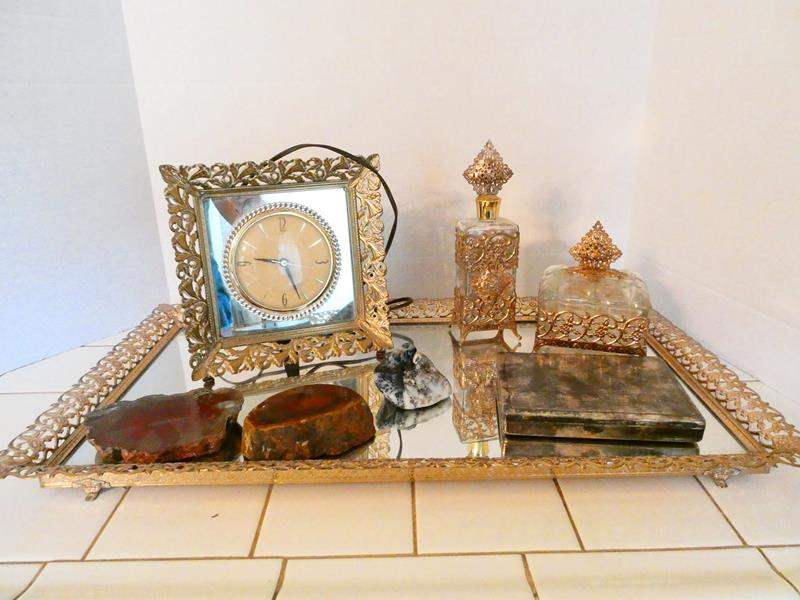 Lot # 61- Luxury vintage mirror tray set with sterling silver jewel box + more (main image)