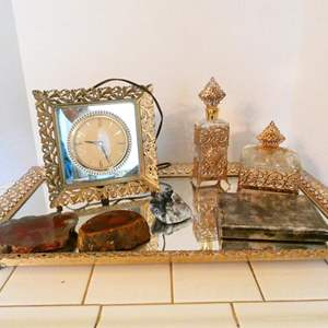 Lot # 61- Luxury vintage mirror tray set with sterling silver jewel box + more