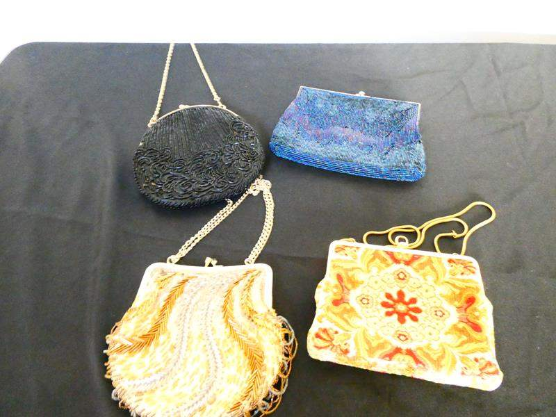 Lot # 64- German Vintage beaded & needle point coin purse hand bags.  (main image)