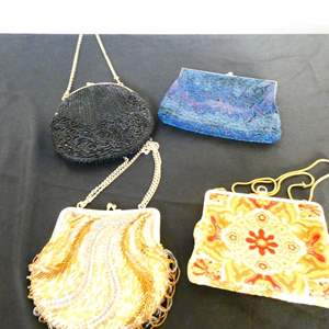 Lot # 64- German Vintage beaded & needle point coin purse hand bags.