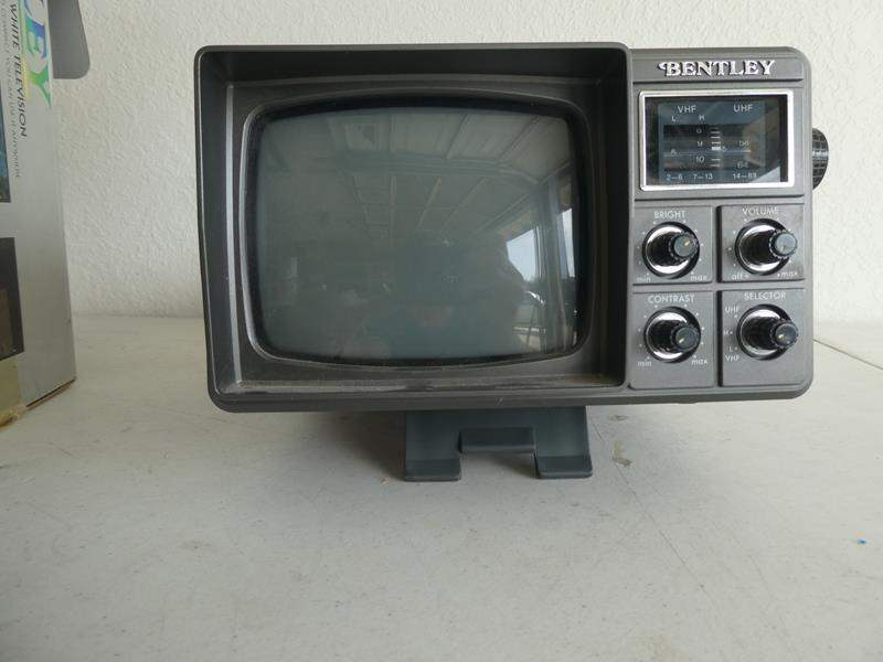 "Lot # 216- Vintage ""Bentley"" Deluxe portable 5"" black and white TV (main image)"