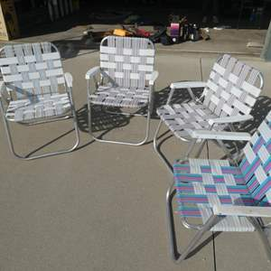 Auction Thumbnail for: Lot # 223- Four peice foldable lawn chairs. 2 in good shape