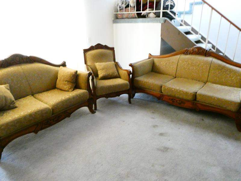 Lot # 73- Turkish hand carved design Couch, love seat, and chair set (main image)