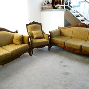 Lot # 73- Turkish hand carved design Couch, love seat, and chair set
