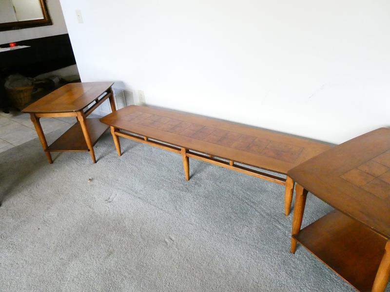 """Lot # 74- """"Lane""""(Collectors pieces) Mid- Century, Vintage wood coffee table and two end tables (main image)"""