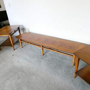 """Lot # 74- """"Lane""""(Collectors pieces) Mid- Century, Vintage wood coffee table and two end tables"""