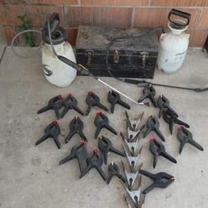 Lot # 229-Clamps, metal tool box & sprayers