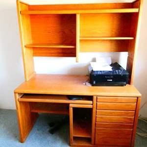 Lot # 80- Solid Oak computer desk