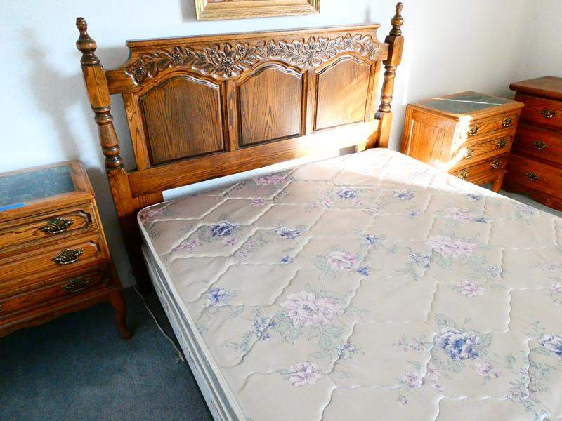 Lot # 86- Vintage Queen Bed with 2 Marble top night stands (main image)