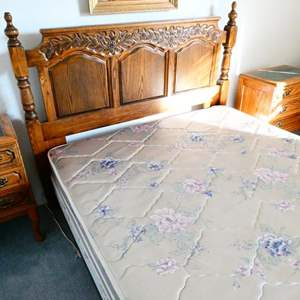 Lot # 86- Vintage Queen Bed with 2 Marble top night stands