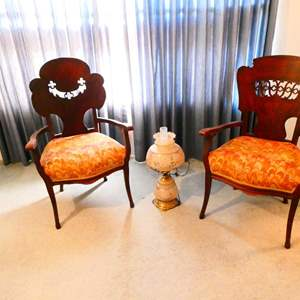 Lot # 88- Vintage Quoizel lace lamp, 2 beautiful vintage hand carved chairs
