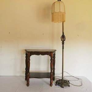 Lot # 2- Vintage lamp and end table
