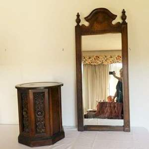 Auction Thumbnail for: Lot # 3- Vintage Mirror and side table/cupboard