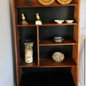 Lot # 4- Book shelf, contents included, owl & disk decor