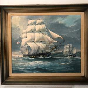 Lot # 11- Collectible, Mitchell James 1932 canvas painting