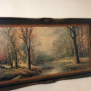 """Lot # 25- Robert Wood, """"Woodland Creek"""" signed reproduction painting on canvas"""
