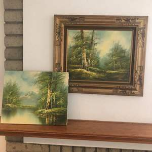 """Lot # 72- Two Antique Eugene Kingman """"Woodland mountain-scape Oil paintings, appears to be original"""