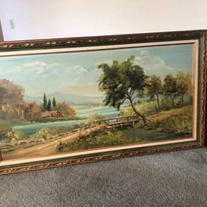 Lot # 76- Colorful Framed lakeside bridge Original Oil painting on canvas