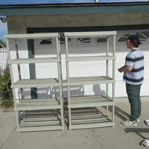 Lot # 201- Two peice Keter storage shelves. Good condition, plastic.