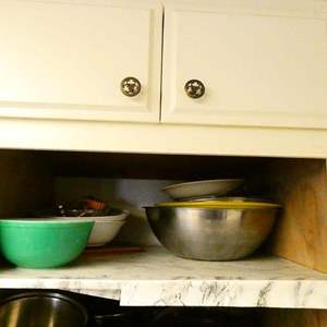 Lot # 345- So many metal mixing bowls, cooking cutters, vintage glass mixing bowls