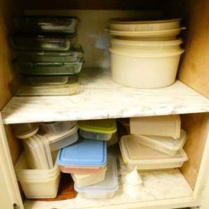 Lot # 347- So much stuff! Tupperwear, food storage containers, assorted glass casserole dishes