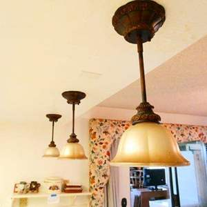 Lot # 354- Three ornate hanging lights- Very stylish