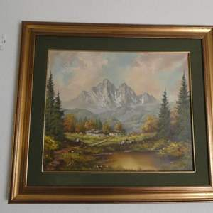 Lot # 16- Original Oil painting and bookshelf with figurines