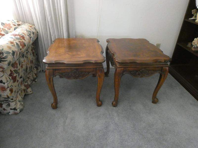 Lot # 17- Two solid wood vintage Stanley end tables (main image)
