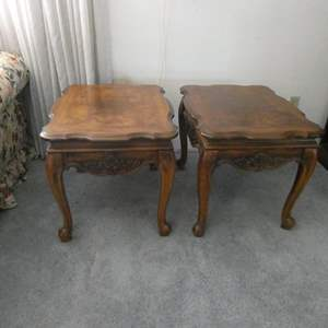Lot # 17- Two solid wood vintage Stanley end tables