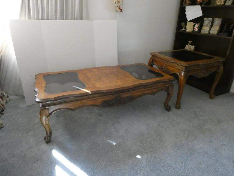 Lot # 18- 3 piece solid wood coffee, end table, & sofa table set.  (main image)