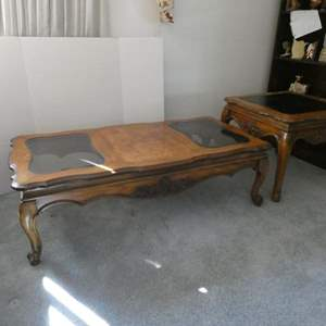 Lot # 18- 3 piece solid wood coffee, end table, & sofa table set.