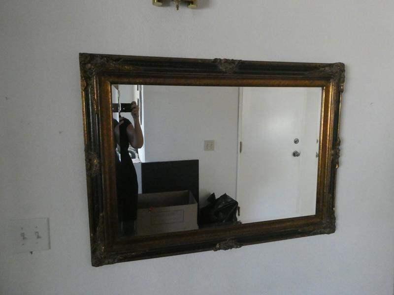 Lot # 23- Decorative Black & Gold Mirror (main image)