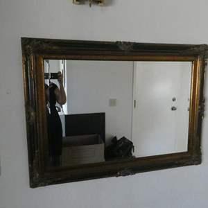 Lot # 23- Decorative Black & Gold Mirror