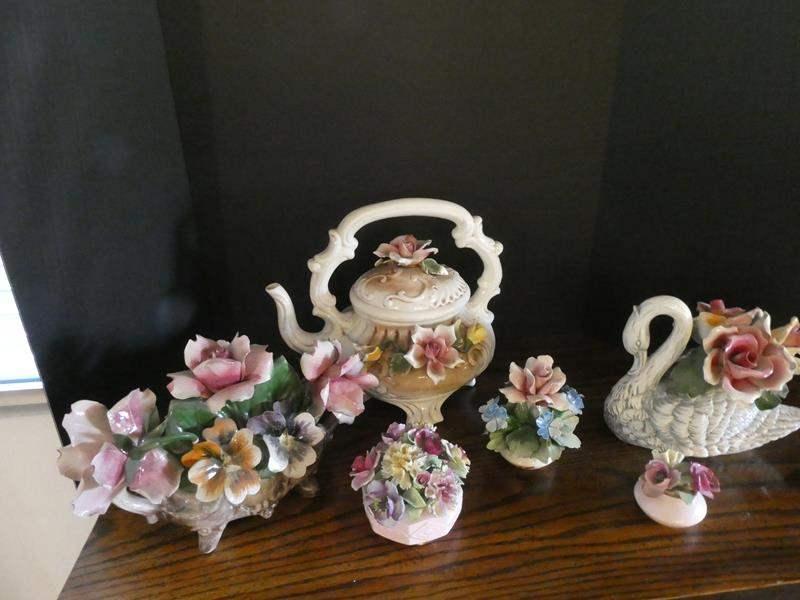 Lot # 28- Vintage floral Capodimonte Italian collectibles and tea pot (main image)