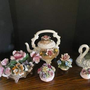 Lot # 28- Vintage floral Capodimonte Italian collectibles and tea pot