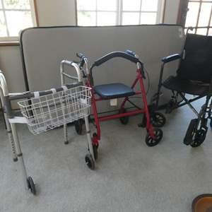 Lot # 37- Walker, wheelchair, and folding chair walker.