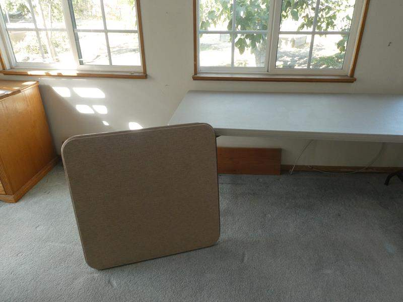 Lot # 38- Folding chairs and 2 folding tables (1 long, 1 card table) (main image)