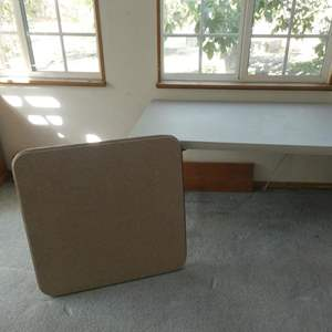 Lot # 38- Folding chairs and 2 folding tables (1 long, 1 card table)