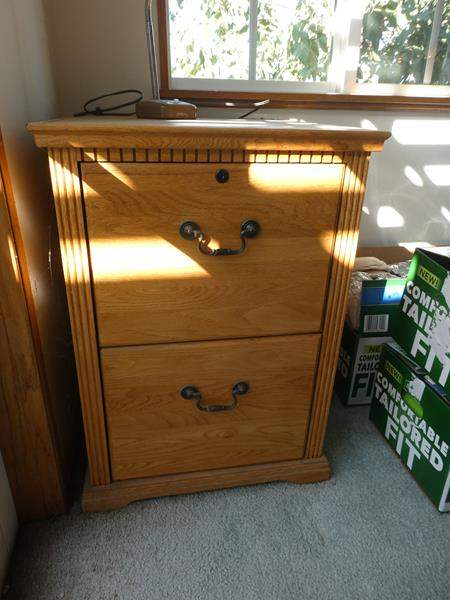 Lot # 41- Stylish Wood file cabinet, with oak book shelf (contents not included)- see all pictures (main image)