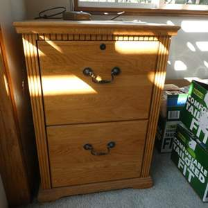 Lot # 41- Stylish Wood file cabinet, with oak book shelf (contents not included)- see all pictures