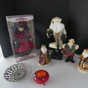 Lot # 45- Cute Christmas decor | Santa collection | Collector porcelain dolls and more