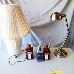 Lot # 179-2 Lamps, 3 Bottle lights