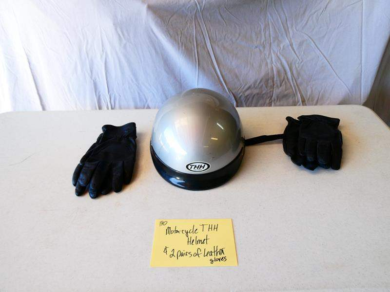 Lot # 190-Motorcycle THH helmet/ 2 pairs of leather gloves (main image)
