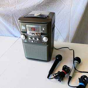 """Lot # 192-Karaoke time! """"The Singing machine"""", CD player with microphones"""